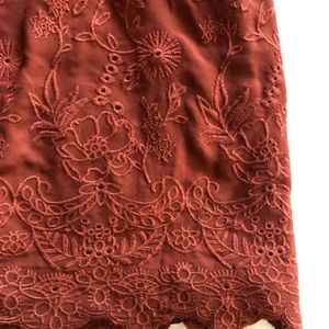 Loft Rust-Colored Embroidered Skirt